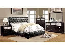 black leather platform bed