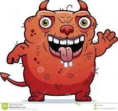 ugly devil waving stock vector image 47480081