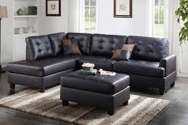 poundex f6855 espresso faux leather sectional ottoman sofa set