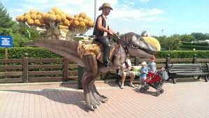 stilt costumes halloween saw the best costume ever today meet the dino cowboy funny
