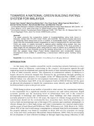 1 towards a national green building rating system for malaysia