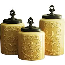 kitchen 3 piece canister set with earthenware artistic canister