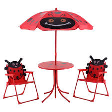 Outdoor Childrens Table And Chairs Kids Patio Folding Table And Chairs Set Beetle With Umbrella