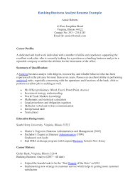 Business Analyst Resumes Examples by Cover Letter For Banking Operations Position