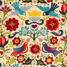 beige doves and flowers laminate fabric by henry