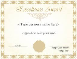 Free Certificate Of Excellence Template Special Certificate Award Template For Excellence