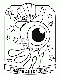 american octopus happy 4th of july coloring page for kids