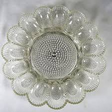 glass egg plate deviled egg plate indiana glass hobnail kitchen dining