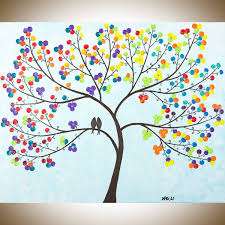 Easter Decorations Tree by New Life Original Oil Painting Abstract Landscape Painting Easter