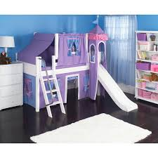 Loft Beds For Kids With Slide Furniture Pink Loft Bed With Tent Also Slide And Stairs In