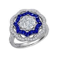 blue rings white images Art deco blue sapphire and diamond cocktail ring 18k white gold jpg