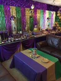 mardi gras candy birthday masquerade party candy buffet in purple green black
