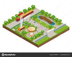 amusement park isometric concept u2014 stock vector macrovector