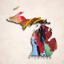 World Map Prints by Michigan Map Art Painted Map Of Michigan Digital Art By World