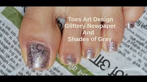glittery toes shades of gray tutorial easy steps beginner