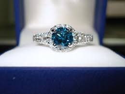 blue engagement rings blue engagement ring 1 55 carat 14k white gold halo