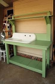 Indoor Wood Bench Plans Ideas Accent Your Garden With Splendid Potting Bench With Sink