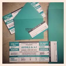 Movie Ticket Wedding Invitations Concert Ticket Wedding Invitation With Rsvp Tear Off Stub 3 25