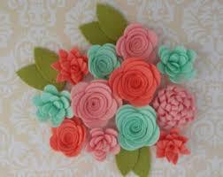 felt flowers wool felt flowers etsy