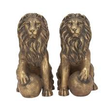 eclectic lion ring holder images Shop pair of traditional 31 inch gray polystone lion sculpture jpg