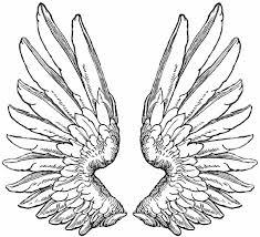 classic grey ink wings tattoo design