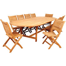 Folding Outdoor Table And Chair Sets Amazonia Savona 10 Person Teak Patio Dining Set With Folding