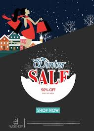 winter sale poster snowy outdoor decor webpage design free vector