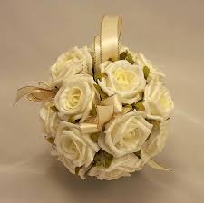 wedding flowers coast pomanders ivory gold flowergirl s pomander silk
