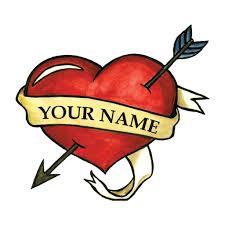 heart with name temporary tattoo by tattoofun
