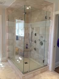 L Shaped Shower Bath With Hinged Screen Frameless L Shape With Full Height Panels Door Is Hinged To The