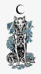vector dead wolf wolf moon flower png and vector for free