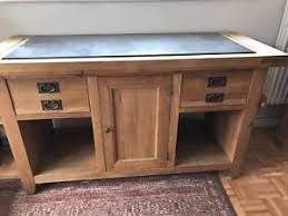 solid oak kitchen island unit with granite top and drawers ebay
