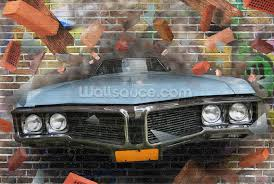 graffiti car smash wallpaper wall mural wallsauce usa graffiti car smash wall mural photo wallpaper
