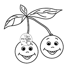 cherries smiling fruit coloring page for kids fruits coloring