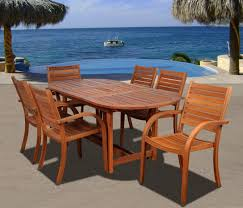 Patio Dining Furniture Amazon Com Amazonia Arizona 7 Piece Eucalyptus Oval Dining Set