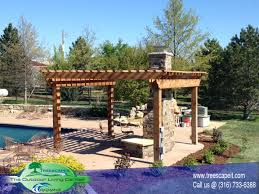 Pergola Off House by Structures Pools Wichita Ks Treescapes