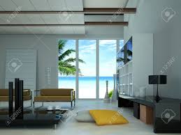 modern livingroom with a large window showing a tropical beach