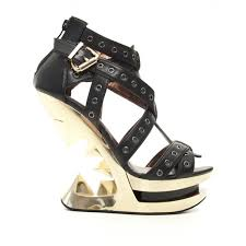 taunt black and gold open wedge sandal with riveted straps taunt black and gold heel less wedge sandal at gothic plus gothic clothing