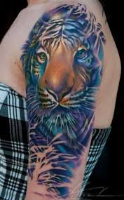 tropical tiger tattoo pastel flower tropical tattoo ideas