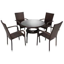 bentley garden rattan dining set table and 4 armchairs