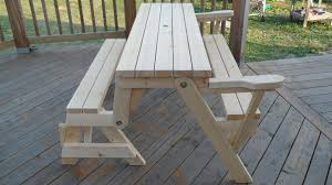 Plans For Patio Table by Convert A Bench Picnic Table For Patio With Hardwood Floor Tiles