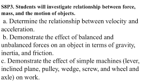 Balanced Forces Worksheet S8p3 Students Will Investigate Relationship Between Force Mass
