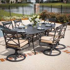 Patio Furniture Swivel Chairs 7 Piece Patio Dining Set With Swivel Chairs Dining Room