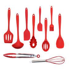 ustensile de cuisine silicone 10 pcs ensemble cuisine silicone non bâton cuisson cuillère spatule
