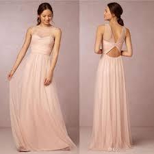 discount bridesmaids dresses bridesmaid dresses 2017 cheap crew neck tulle blush pink sheer