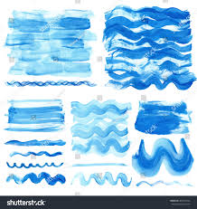watercolor hand painting texturestainsdrops spotblue wavy stock