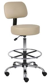 boss office products beige drafting stool with back cushion