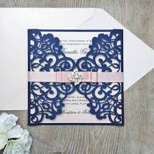 navy and blush wedding invitations navy and blush laser cut wedding invitation glittering