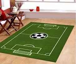 Baseball Area Rug Soccer Field Ground Play Area Rug Anti Skid Backing In