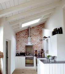 kitchen white board rustic brick backsplash for attic kitchen ideas and ceiling